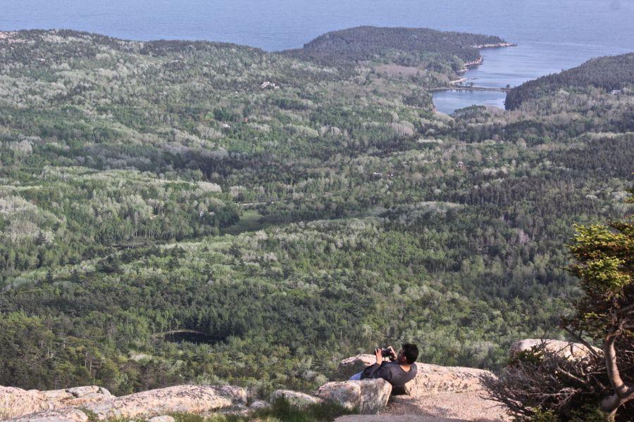 maine mount desert island cadillac mountain view bay man taking photo