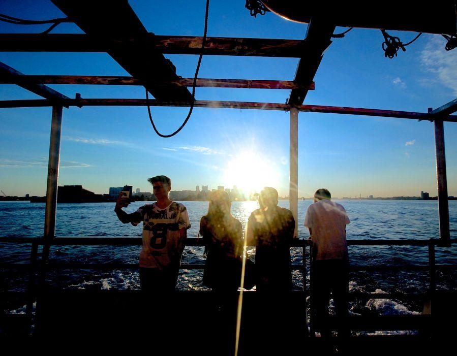 boston harbor boat inside sunset 2