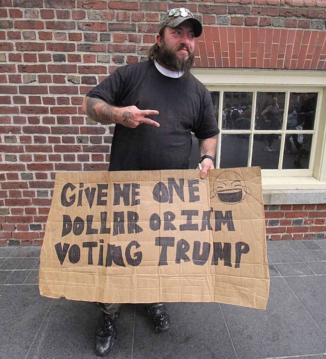 boston old state house man with sign about donald trump