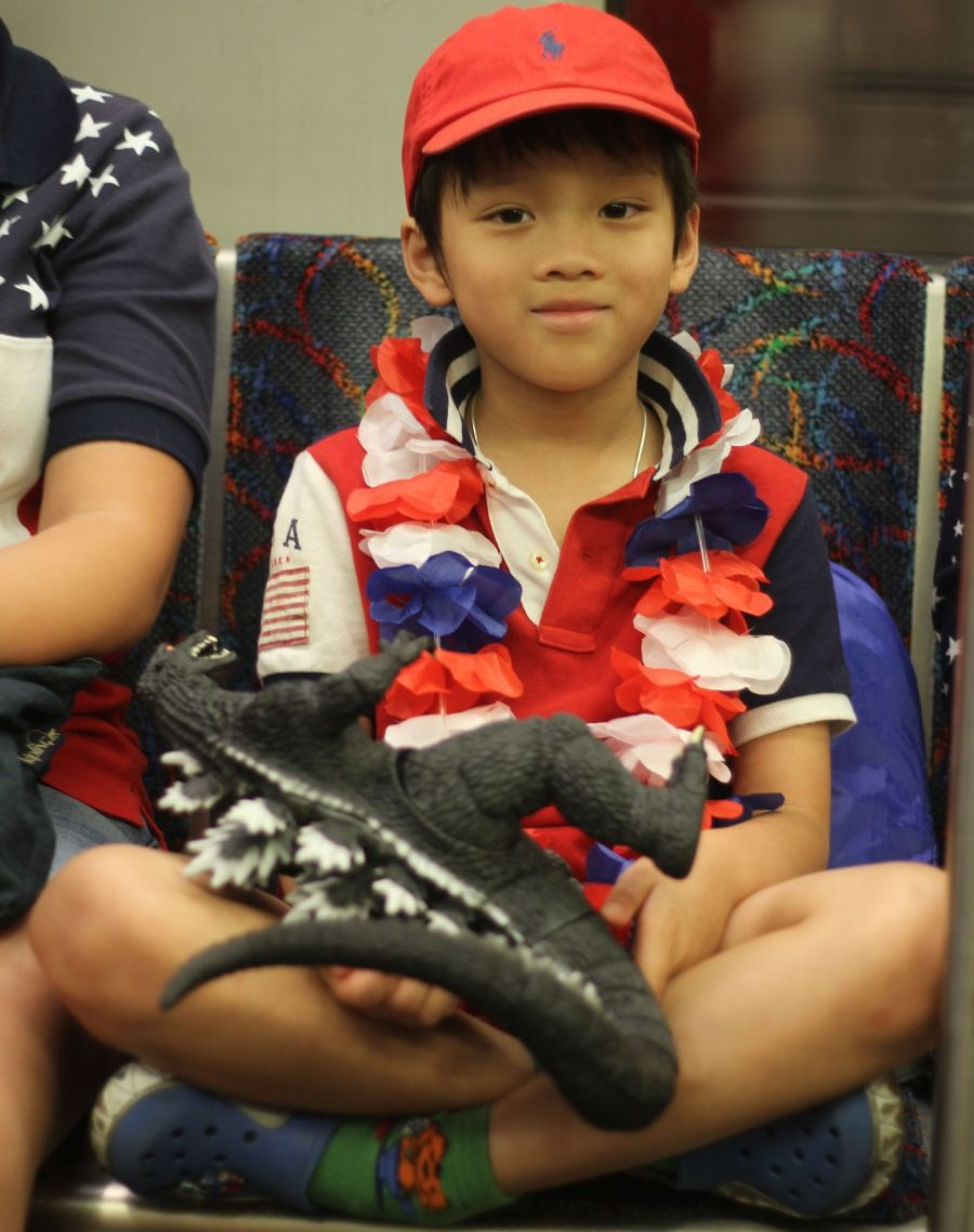 boston red line child dressed for july 4th