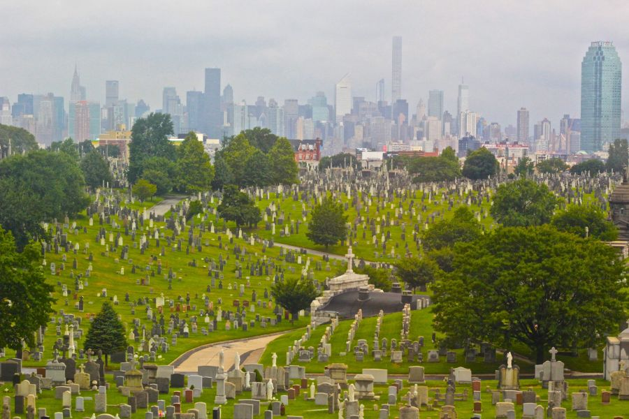 new york city cemetery skyline in the background