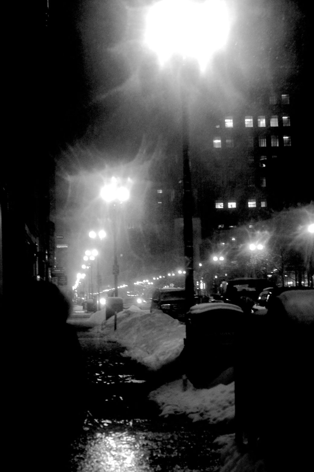boston back bay snow dark