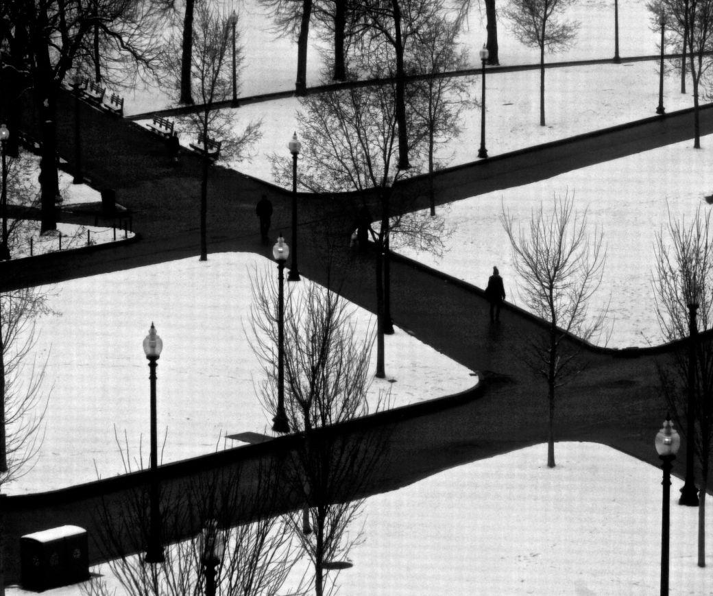 boston boston common black white paths