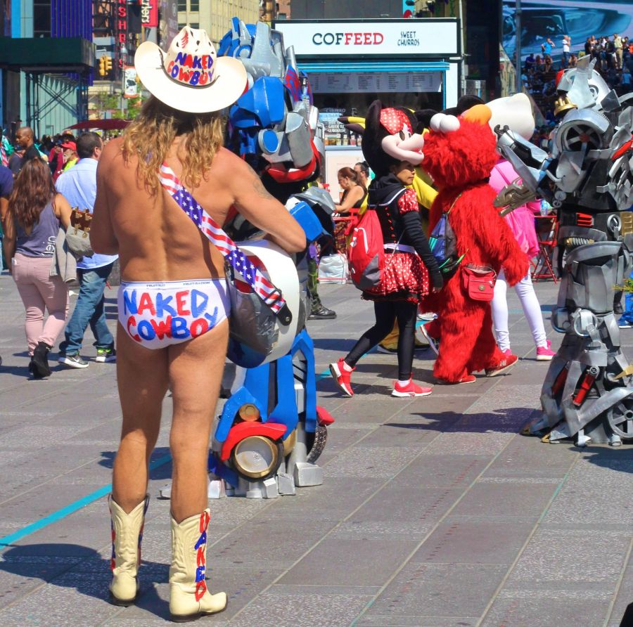 new york city times square naked cowboy back view