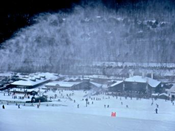 loon lodge view snow makers on