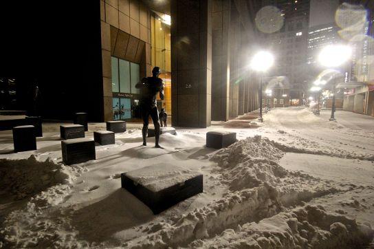 boston haymarket snow february 12 2019 bill russell statue