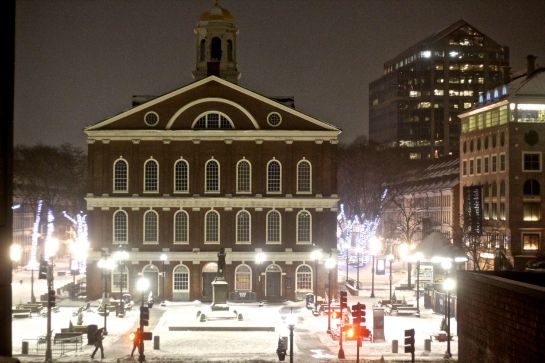 boston haymarket snow february 12 2019 faneuil hall night time snow full view