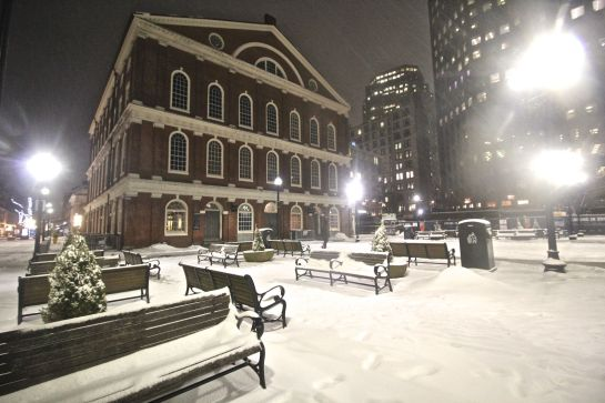 boston haymarket snow february 12 2019 faneuil hall snow night