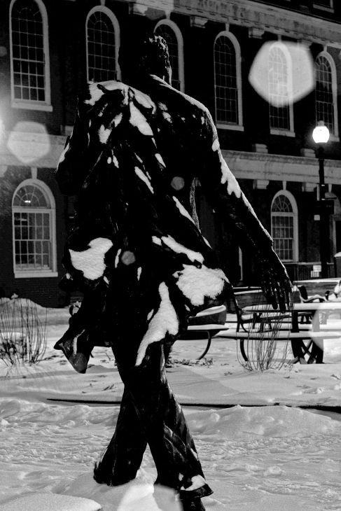 boston haymarket snow february 12 2019 kevin white statue 2