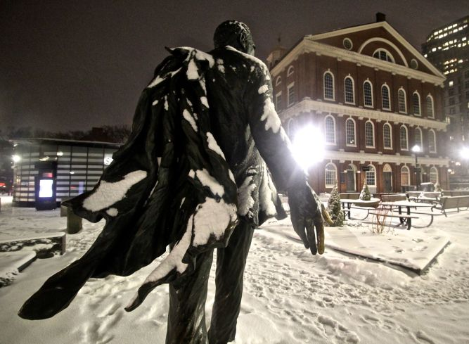 boston haymarket snow february 12 2019 kevin white statue 3