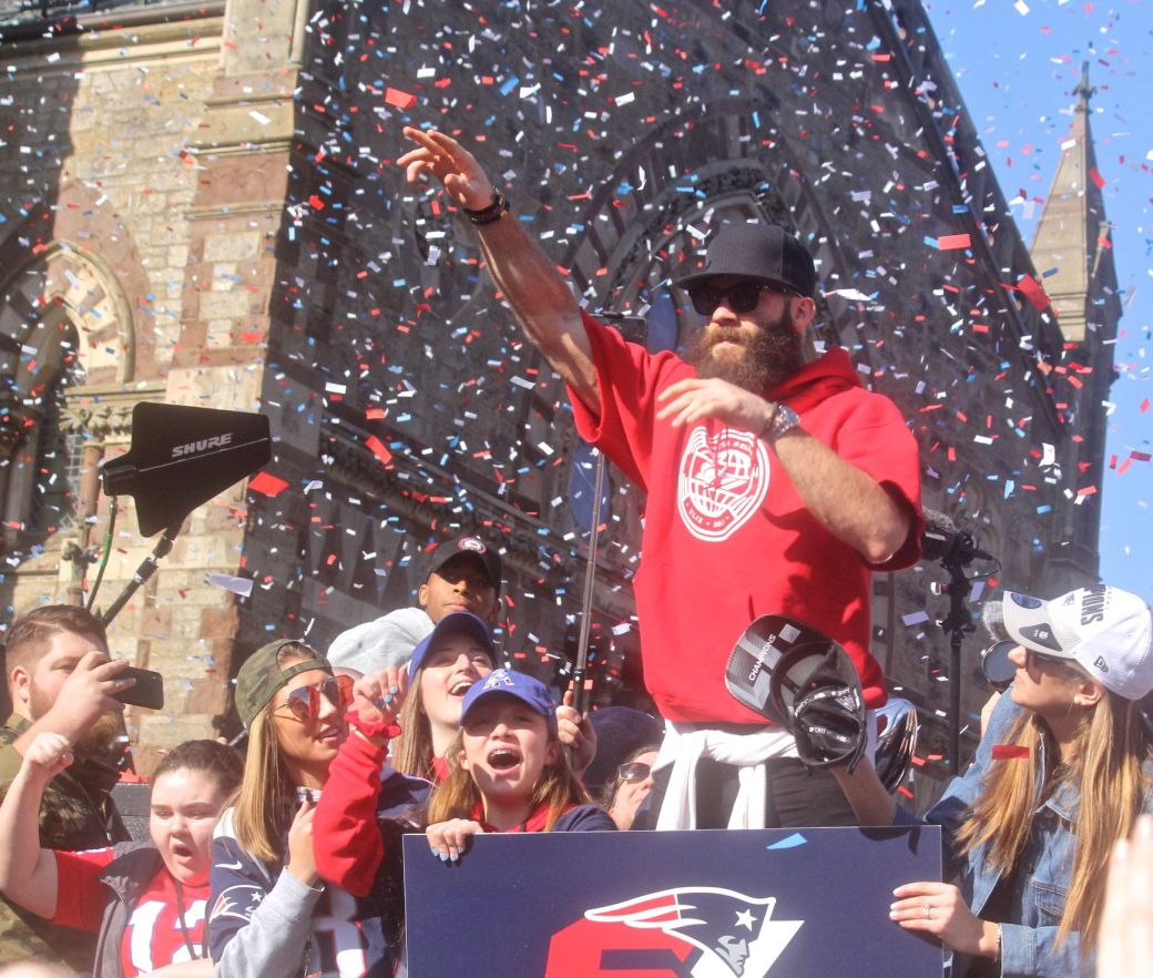 boston new england patriots super bowl celebration february 5 2019 julian edelman confetti