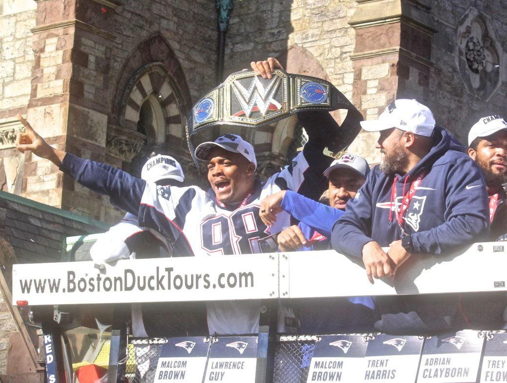 boston new england patriots super bowl celebration february 5 2019 player with wwe belt