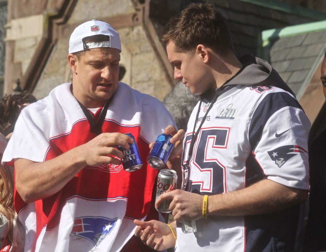 boston new england patriots super bowl celebration february 5 2019 rob gronkowski beer cans