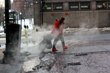 boston downtown crossing march 5 2019 snow steam person