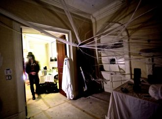 boston beacon hill halloween celebration 2019 inside building spider web