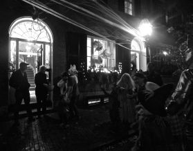 boston beacon hill halloween celebration 2019 people spider web