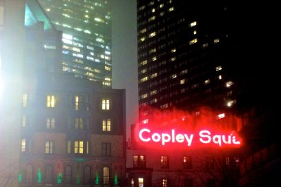 boston copley square sign red