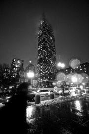 boston hancock tower fog dark black and white