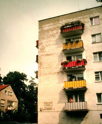 poland building balconies color slides 2001