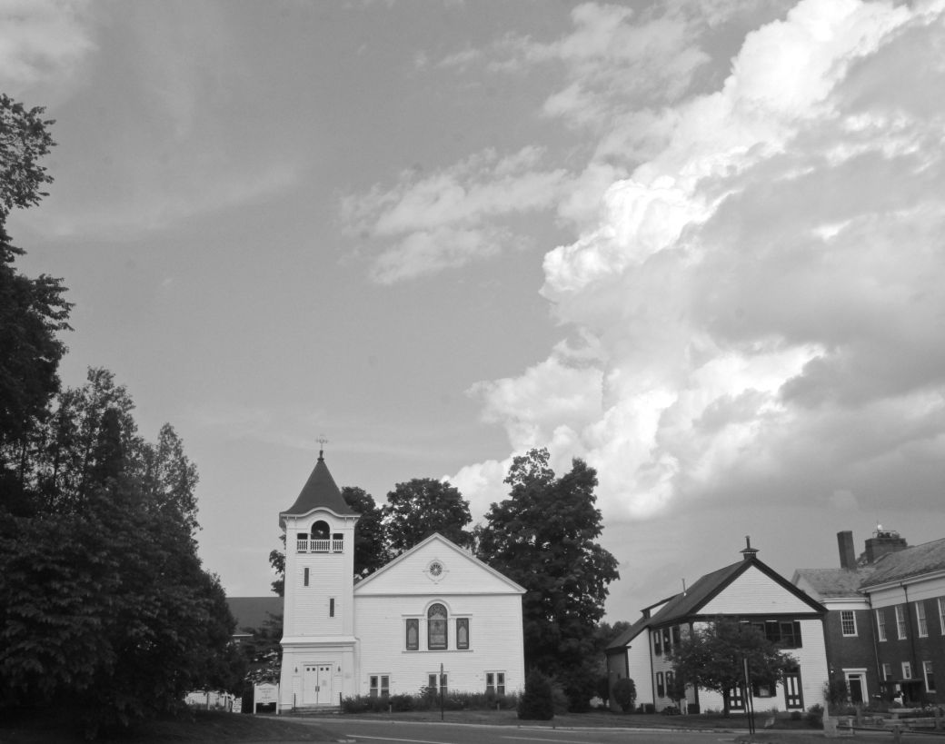 sudbury church clouds black white