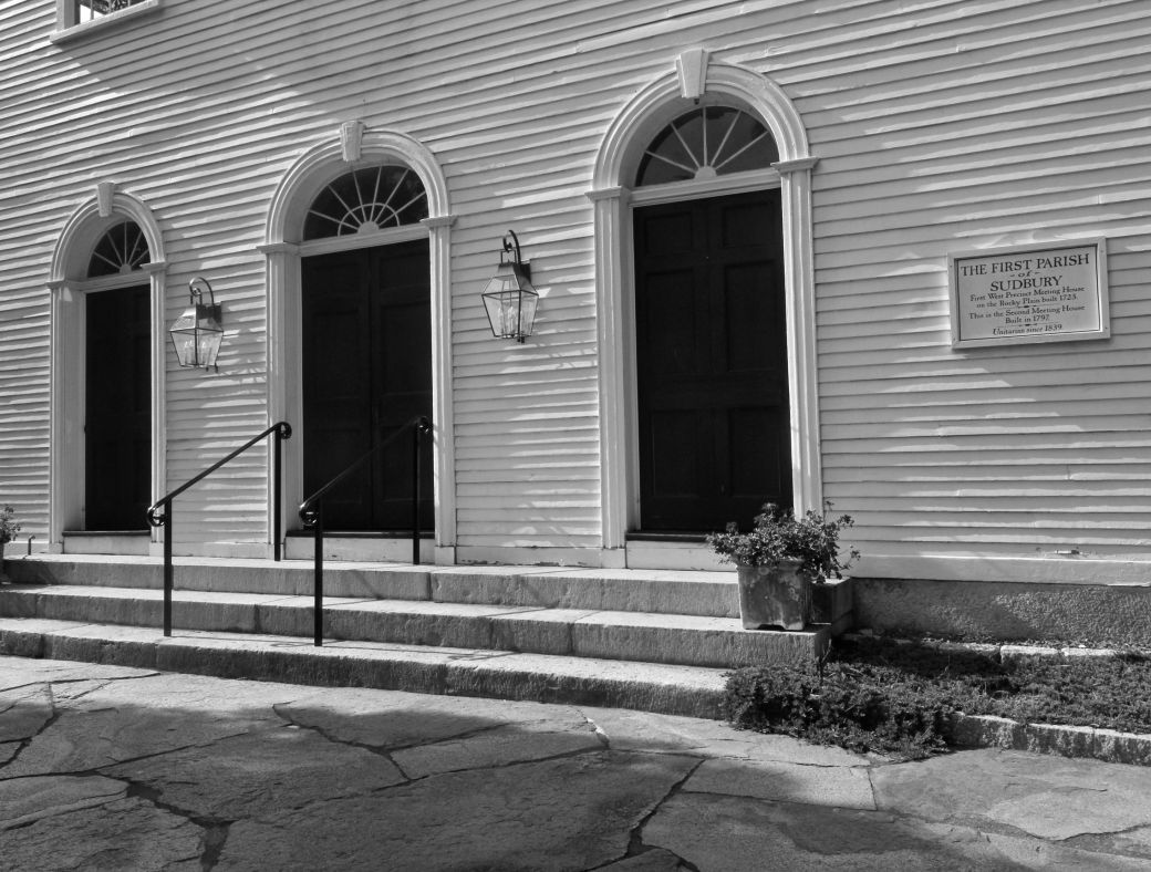 sudbury first unitarian church black white entry