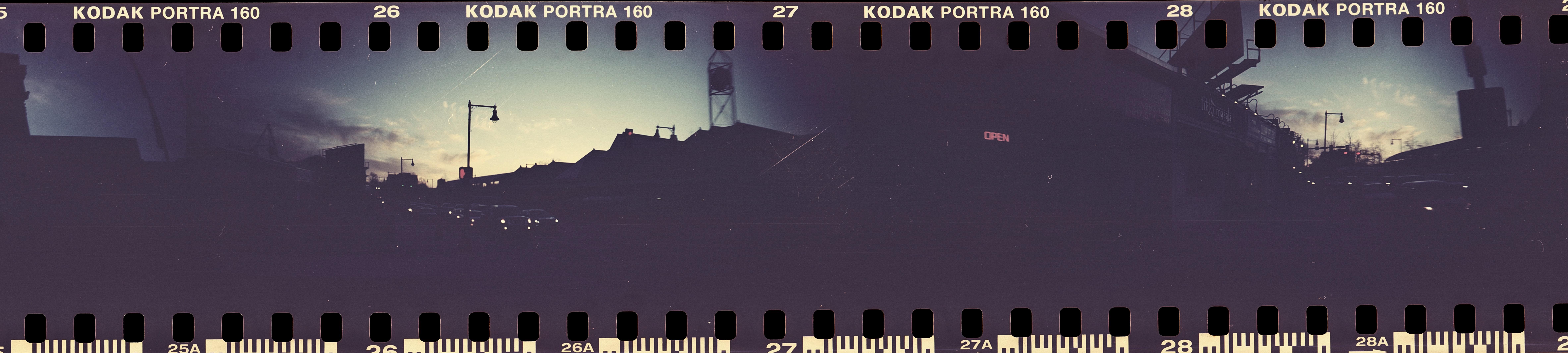 massachusetts boston jamaica plain forest hills station double panorama sprocket rocket portra 160